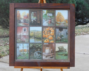 Rustic Framed Montage of a Dozen Fall Scenes