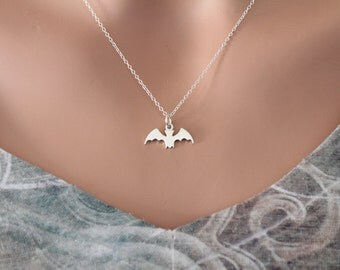 Sterling Silver Bat Necklace, Cute Bat Charm Necklace, Hanging Bat Necklace, Bat Necklace, Upside Down Bat Necklace, Halloween Bat Necklace