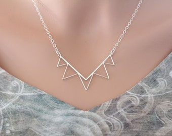 Sterling Silver Large Triangle Connector Necklace, Sterling Silver 5 Triangle Pendant Necklace, Triangle Pendant Necklace