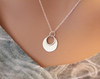 Sterling Silver Flat Plate Circular Pendant Necklace, Circle Petal Charm Necklace, Circular Petal Charm Necklace, Circle Charm Necklace