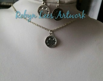 Small Silver Lovestruck Love Sick Smiley Face Charm Necklace and/or Earrings Set on Silver Chain, Hooks or Leverbacks. Emoticon, Emoji
