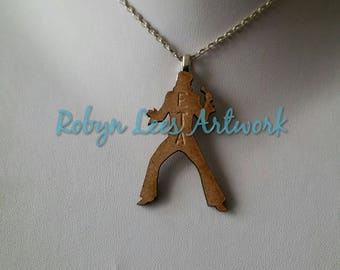 Small Hand Stamped Wooden ETA Elvis Tribute Artist Silhouette Necklace on Silver Crossed Chain or Black Faux Suede Cord. Music