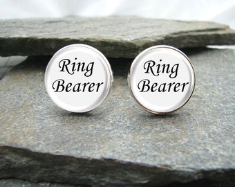 Ring Bearer Cufflinks, Wedding Party Gift, Personalized Cufflinks