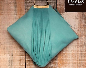 Turquoise leather bag, aqua clutch, summer purse, evening purse, colorful leather bags, mother's day gift