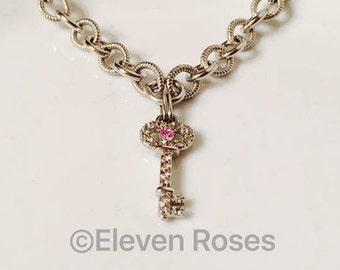Hello Kitty Pink & White Sapphire Diamond Key Enhancer Pendant Chain Necklace