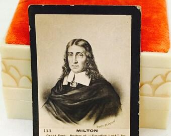 Antique Ogden's Ltd. #133 Milton, Poet & Author of Paradise Lost, Guinea Gold Cigarette Card