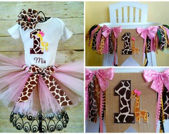 Giraffe 1st Birthday Tutu Outfit and High Chair Banner Package, Wall Banner, Cake Smash, High Chair Decoration