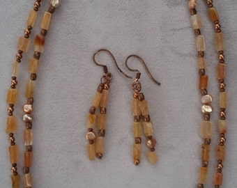 Double Stranded Carnelian Gemstone, Necklace and Earrings