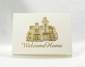 Gold Welcome Home Card Housewarming card. New Home Card. Victorian House card. Blank inside.