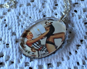 Pin up. girl with cute puppy. Handmade necklace! Silver chain. Glass pendant. Cute picture!