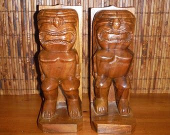 Vintage Wood Hand Carved Tiki Book Ends- Vintage Tiki Wooden Bookends - Wood Tikis - Vintage Tiki Bar Decor - Vintage Tropical Decor