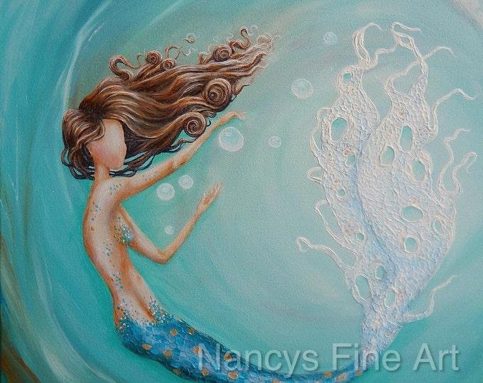 Mermaid art print, teal bubble mermaid in ocean wave, mermaid painting aqua by Nancy Quiaoit