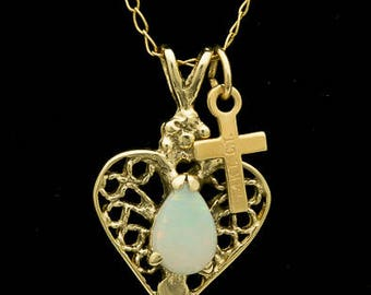 Solid Semi-Crystal Opal Pendant w/Chain 0.70ct (LP163)