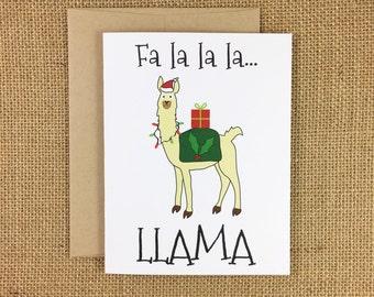 Christmas Card - Fa la la la Llama