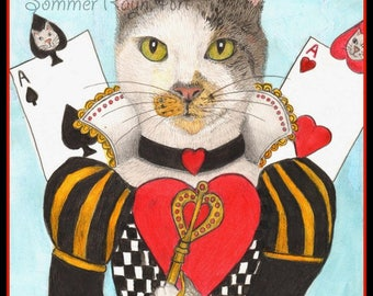 Queen of Hearts Cat,  Alice in Wonderland portrait, Cards, Fun,  Cats, -  Card or Print, Drawing with Watercolor accents, Item #0534a