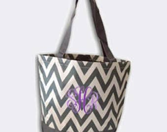Grey Chevron Canvas Tote Bag with Embroidery Personalization