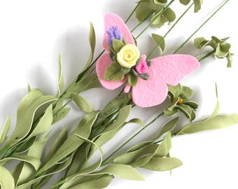 Felt Butterfly Hair Clip. Butterfly Pigtail Hair Clips. Butterfly With Flowers Hair Clip. Butterfly Hair Accessory. Hair Clips for Girls.