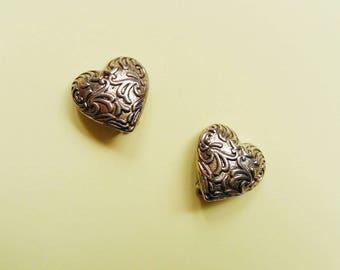 Vintage ornamented silver heart earrings, clip on