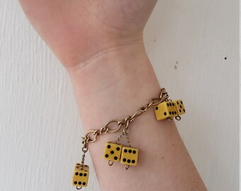 SALE! Lady Luck • 1950s Dice Charm Bracelet