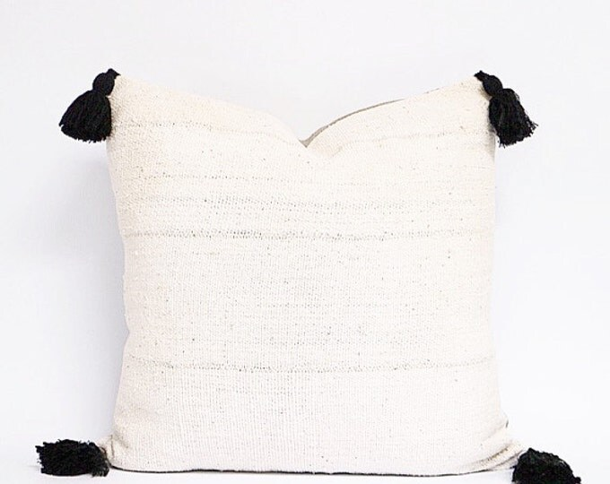 Authentic Natural Off White African Mudcloth Textile Pillow Cover With Black Cotton Tassels Various Sizes