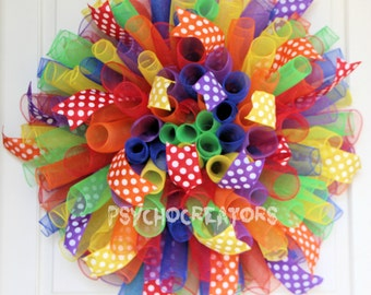 XL Rainbow Curly Wreath – Birthday Party, Back To School Spiral Deco Mesh Wreath, Red Orange Yellow Green Blue Purple Teacher Classroom