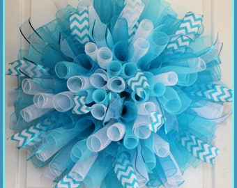 XL Blue Curly Wreath –  Everyday Spiral Deco Mesh Wreath – Ocean Beach Nautical Summer – Christmas Winter – Spring Easter – Nursery Room