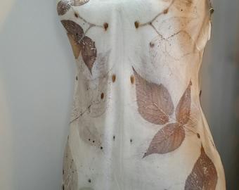 Satin Eco Print Silk Cami_ Wild Raspberry Leaves