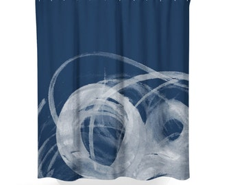 dark blue shower curtain. Navy Blue shower curtain  Beach bathroom Decor Abstract Shower Curtain Etsy