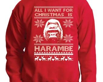 Harambe Ugly Christmas Sweater Funny Xmas Party Sweater