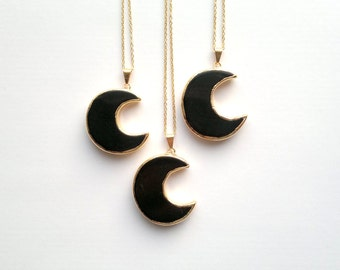 Inspirational Black Moon Necklace Black Obsidian Necklace Obsidian Moon Pendant Gold Black Crescent Necklace Moon Jewelry Stone Necklace