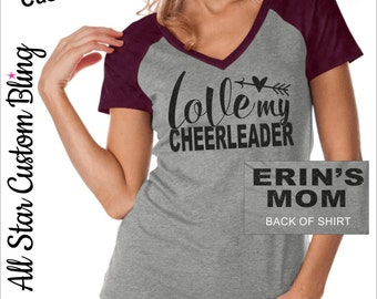 Love My Cheerleader VNeck Raglan Shirt, Cheer Mom Shirt, Mom Cheer Shirt, Custom Cheer Shirt, Custom Cheer Mom VNeck Shirt
