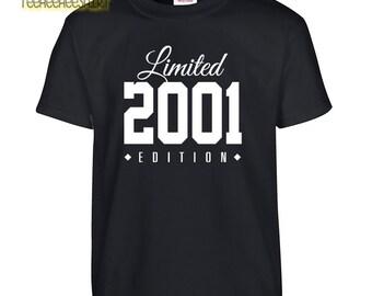 2001 Limited Edition Birthday Tshirt, Kids 16th Birthday Tshirt, Children's Birthday Tshirt, Gift for Child Birthday