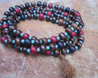 Long wood beaded mala 108 bead mala mens mala women's prayer beads exotic brown red black wooden beads extra long necklace tassel necklace