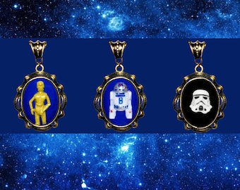 Storm Trooper Cameo Necklace - Star Wars Bronze or Silver Pendant Necklace Dark Side