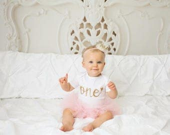 First Birthday Outfit Girl - 1st Birthday Outfit - Pink and Gold - Tutu - Glitter - Gold Cake Topper - 1st Birthday - Cake Smash