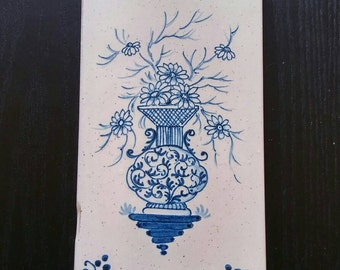 Vintage Italian Ceramic Tile, Blue and White Floral Delft