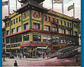 Vintage Postcard - Sing Fat Company Grant Ave and California St in Chinatown, San Francisco, California  (2350)