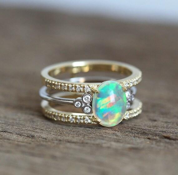 Opal Wedding Set Diamond Ring Engagement Oval