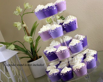 Purple Ombre Baby Cupcake Wrappers Kit, 32pcs