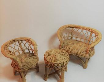 Vintage 3 Piece Set of Wicker Doll Furniture