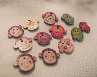 MONKEY FACE BUTTONS,Craft Buttons,Sewing Notion,2 Hole Button,19x22mm Monkey Buttons,10 Pc. button set,Scrapbook Buttons,Kids Cloths Buttons