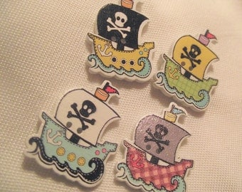 WOODEN PIRATE Ship BUTTONS,Craft Buttons,Sewing Notion,2 Hole Pirate Ship Buttons,32x25mm 2 Pirate Ship Buttons,10 pc Nautical button set,