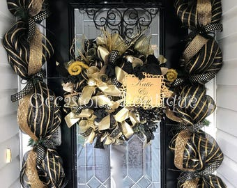 Engagement Party Decoration, Bridal Shower Wreath, Wedding Decor, Front door wreath, Wreath with Garland, Special Occasion, Made to Order