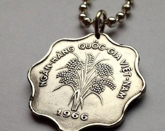 1966 South Vietnam 5 dong coin pendant Vietnamese RICE plant necklace Hanoi Indochina flower blossom flora bouquet Vietnam War n000092