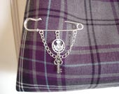 Kilt pin brooch with thistle and Celtic key charm detail silver plated pin metal alloy charms Mothers Day gift for her Scottish