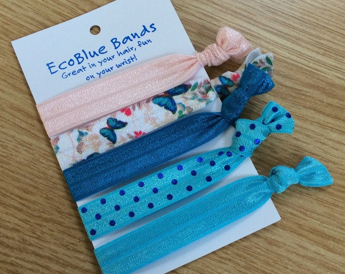 5 hair elastics, soft stretch hair ties, ponies, yoga hair ties, bracelets, ponytail holders - Turquoise Butterfly mix