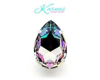 COTTON CANDY CRUSH 30x20mm Crystal Pear Adjustable Ring Swarovski Elements *Pick Your Finish *Karnas Design Studio *Free Shipping*