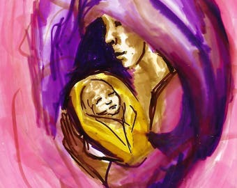 Tender by Eilidh Morris Art Colourful Mother and Child Artwork - small bright art - Parenting Maternal Pink illustration Woman & Baby Birth