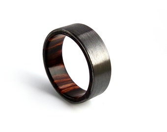 cocobolo ring black zirconium ring wood wedding ring wood engagement ring mens