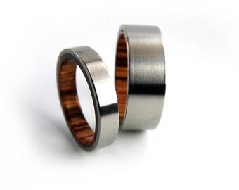 Kingwood Ring Set, Wood Ring Set, Titanium Ring Set, Handmade Ring Set, Ring Pair, King Wood Ring, Custom Wedding Bands, Engagement Bands